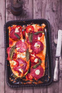 Pizza zucchini boats with cheese and sausage