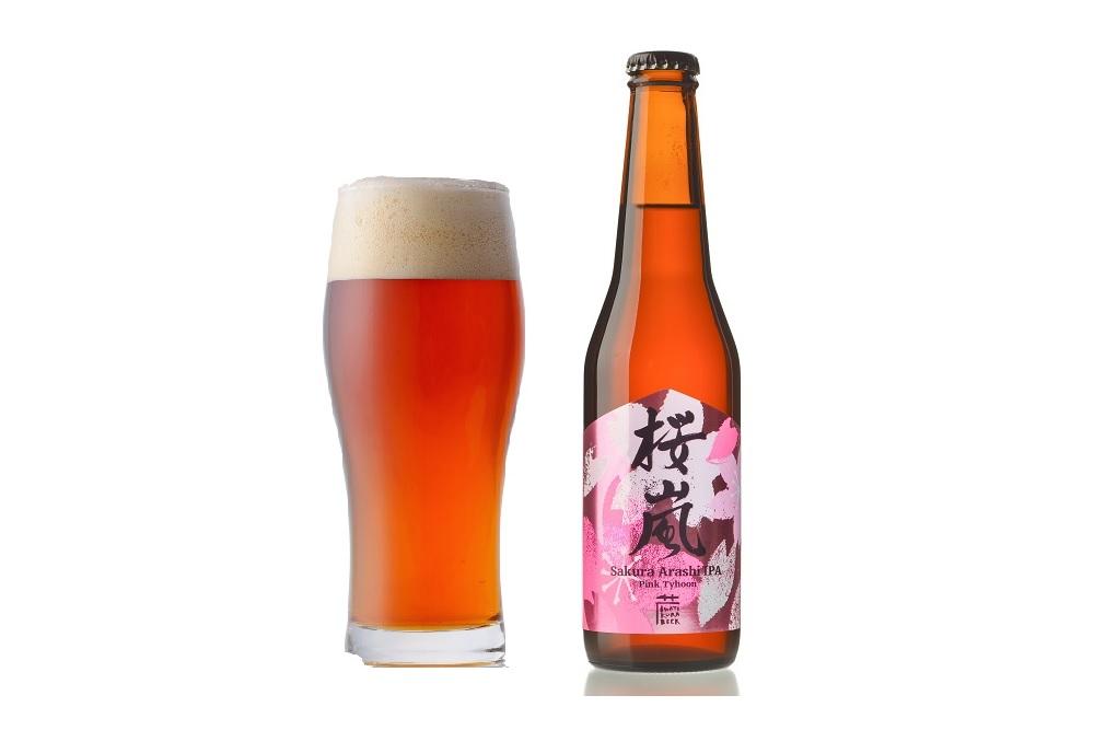 桜のビールとグラス
