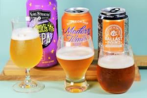 グラスに注いだビール3種