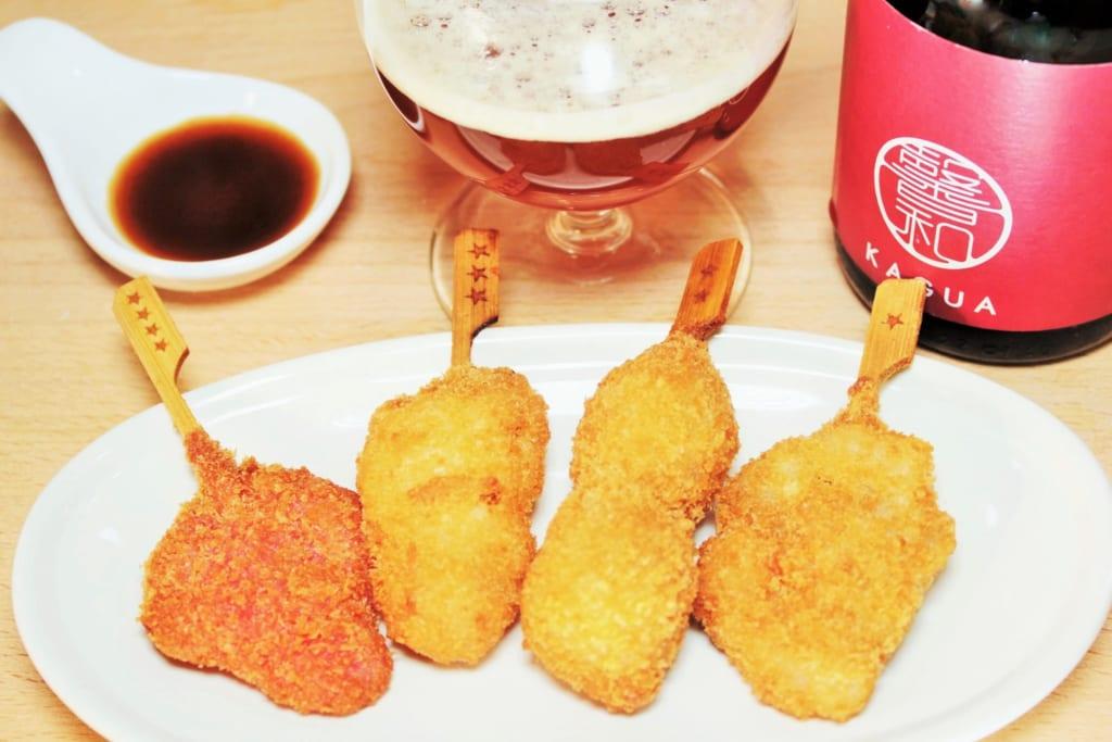 串カツとビール